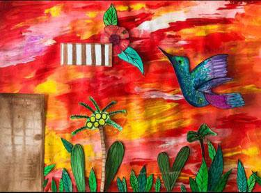 Bosquejo de mural el colibri